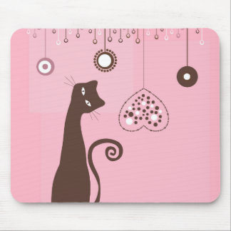 Valentine's Day Cat Mouse Pad