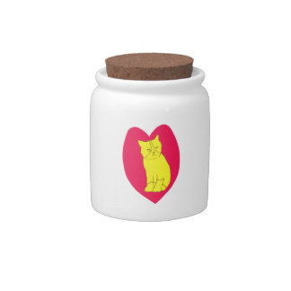 Valentine's Day Cat with Red Heart Candy Jar