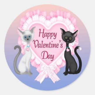Valentine's Day Cats Round Envelope Seals
