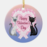 Valentine's Day Cats Round Ornament