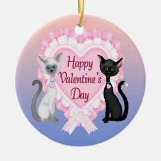 Valentine's Day Cats Round Ornament