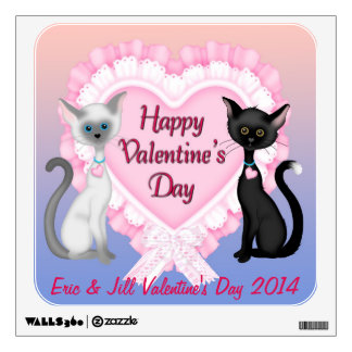 Valentine's Day Cats Square Wall Decal