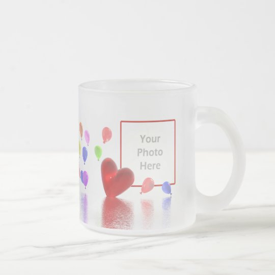 Valentines Day Celebration (photo frame) Frosted Glass Coffee Mug