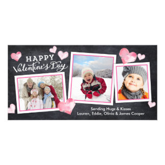 Valentine's Day Chalkboard Lovely Hearts Collage Photo Card