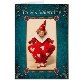 Valentine's Day - Child in a Red carnival costume. Card