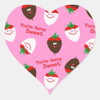 Valentine's Day Chocolate Dipped Strawberries Heart Sticker