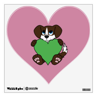 Valentine's Day Chocolate Dog with Green Heart Wall Decal