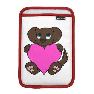 Valentine's Day Chocolate Dog with Pink Heart iPad Mini Sleeve
