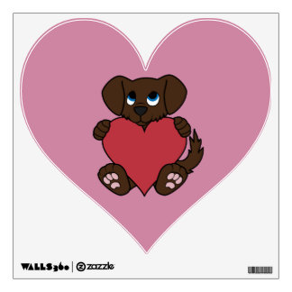 Valentine's Day Chocolate Puppy Dog with Red Heart Wall Sticker