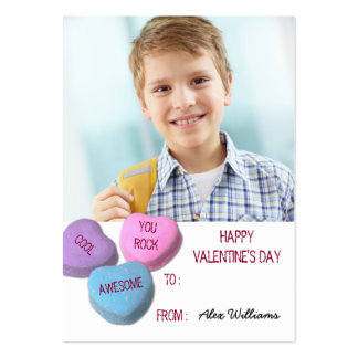 Valentine's Day Classroom Boy Custom Photo Large Business Card