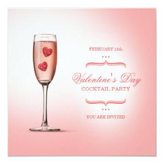 """Valentine's Day Cocktail Party invitation 5.25"""" Square Invitation Card"""