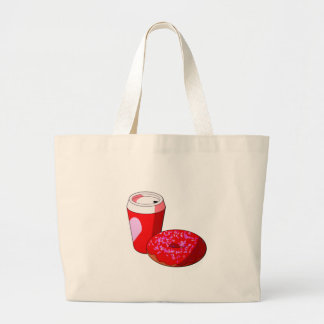 Valentine's Day Coffee and Donuts Large Tote Bag