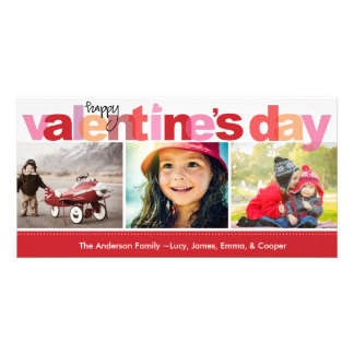 Valentine's Day Colorful Letters Photo Card