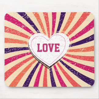 Valentines day colorful love design with heart mouse pad
