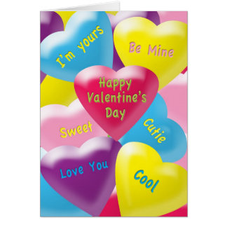 Valentine's Day Colorful Plumpy Hearts for Tweens Card