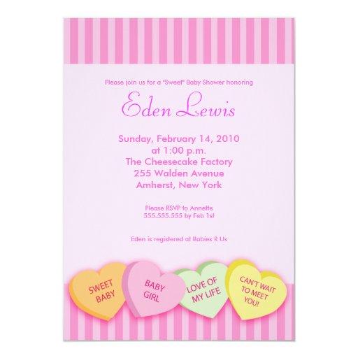 Valentines Day Conversation Heart Baby Shower Card