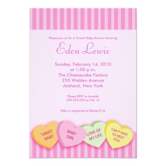 Valentines Day Conversation Heart Baby Shower Invitation Zazzle Com