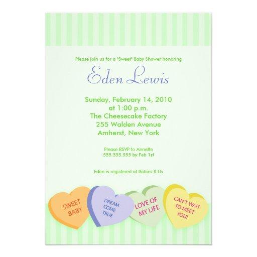 Valentines Day Conversation Heart Baby Shower Custom Announcement