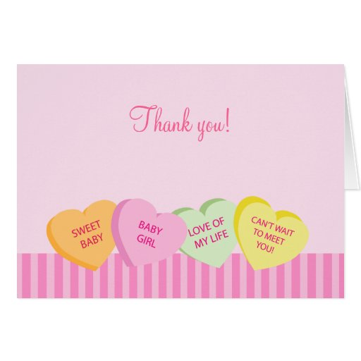Valentine's Day Conversation Heart Thank you note Card   Zazzle