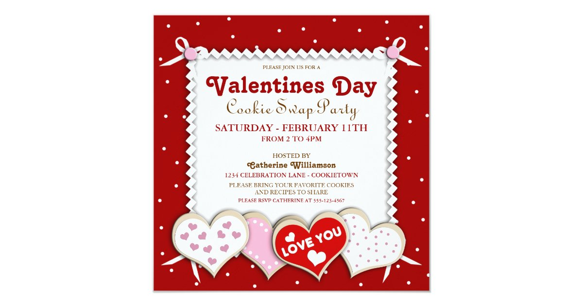 Valentines Day Cookie Swap Party Invitation Zazzle Com