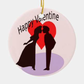 Valentine's Day Couple Double-Sided Ceramic Round Christmas Ornament