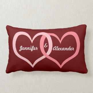 Valentine's Day Couples Name Heart Love Art Lumbar Pillow