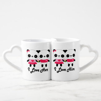 Valentine's Day Couples Panda Bear Mug Set