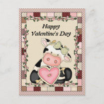 Valentine's Day Cow Postcard