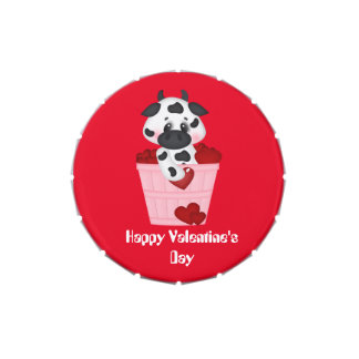 Valentine's Day Cow small snip snap tin