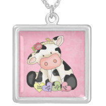 Valentine's Day Cow sterling silver plate necklace