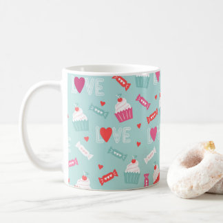 Valentine's Day Cupcake Hearts Love Pattern Coffee Mug