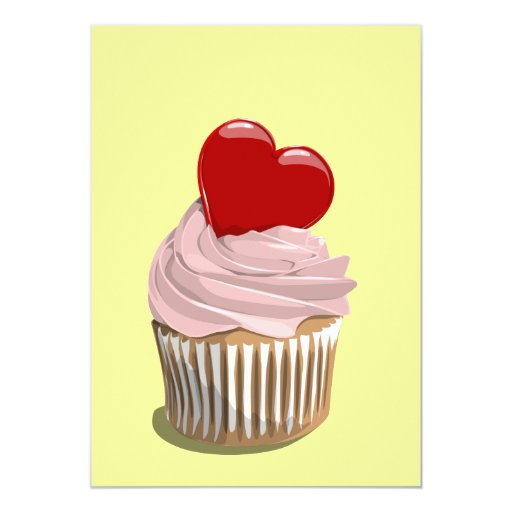 "Valentine's day cupcake invitation 5"" x 7"" invitation card"
