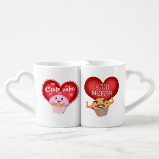 Valentine's Day Cupcake Muffin Couple Mug Set