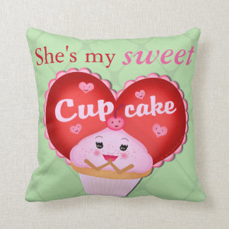 Valentine's Day Cupcake Muffin Couple Throw Pillow