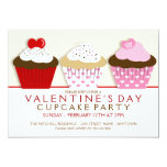 "Valentines Day Cupcake Party Invitations 5"" X 7"" Invitation Card"