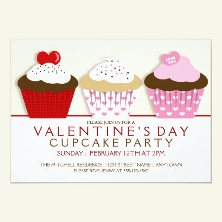 Valentines Day Cupcake Party Invitations