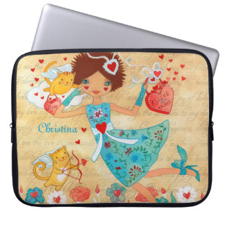 Valentine's Day Cupid Cats with Hearts and Flower Laptop Computer Sleeves