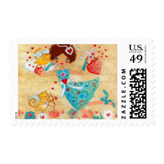Valentine's Day Cupid Cats with Hearts and Flower Postage Stamp
