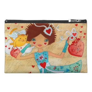 Valentine's Day Cupid Cats with Hearts and Flowers Travel Accessories Bags
