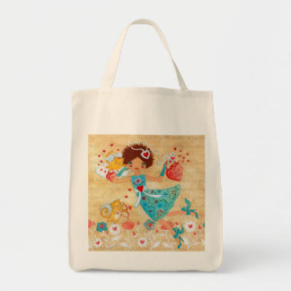 Valentine's Day Cupid Cats with Hearts and Flowers Grocery Tote Bag