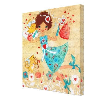 Valentine's Day Cupid Cats with Hearts and Flowers Canvas Print