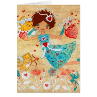 Valentine's Day Cupid Cats with Hearts and Flowers Greeting Card