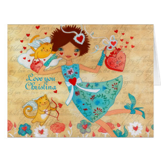Valentine's Day Cupid Cats with Hearts and Flowers Greeting Cards