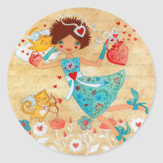 Valentine's Day Cupid Cats with Hearts and Flowers Classic Round Sticker