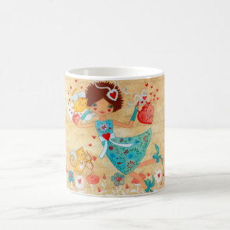 Valentine's Day Cupid Cats with Hearts and Flowers Coffee Mug