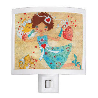 Valentine's Day Cupid Cats with Hearts and Flowers Nite Lights