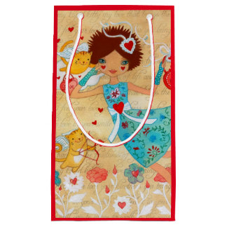 Valentine's Day Cupid Cats with Hearts and Flowers Small Gift Bag