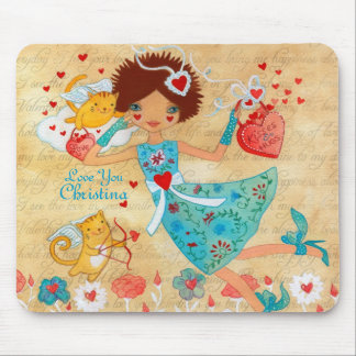Valentine's Day Cupid Cats with Hearts and Flowers Mouse Pad