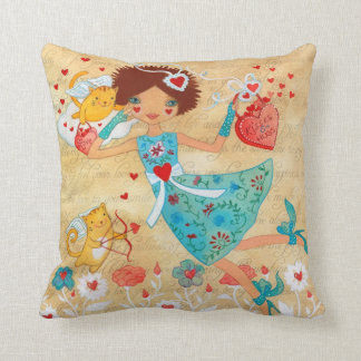 Valentine's Day Cupid Cats with Hearts and Flowers Pillows