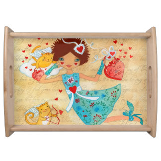 Valentine's Day Cupid Cats with Hearts and Flowers Serving Platters